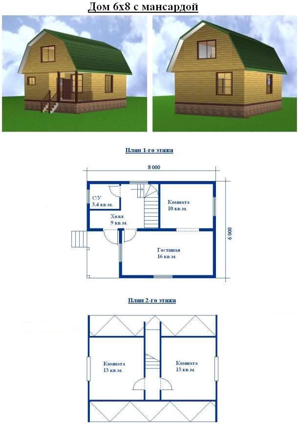 проект дом сруб 6х8